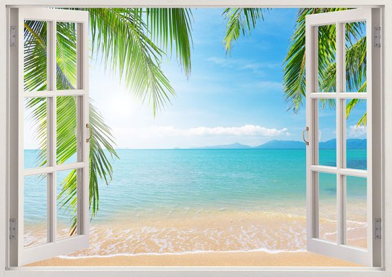 A Window to the Beach Wall Decal