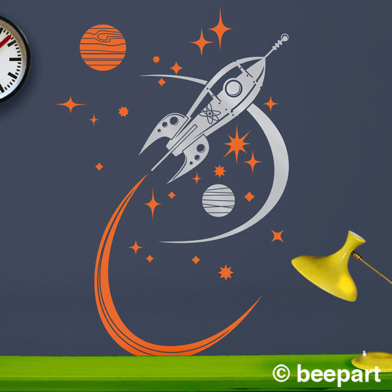 Rocket Ship & Space Wall Decal