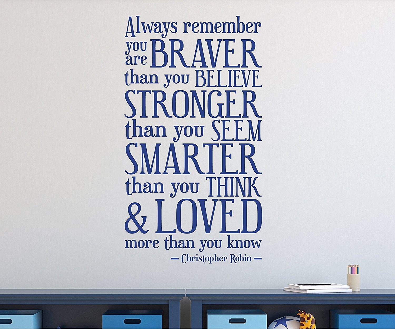 Winne the Pooh Braver Stronger Smarter Loved Wall Decal