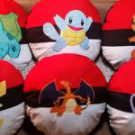Embroidered Pokemon in a Pokeball Pillow