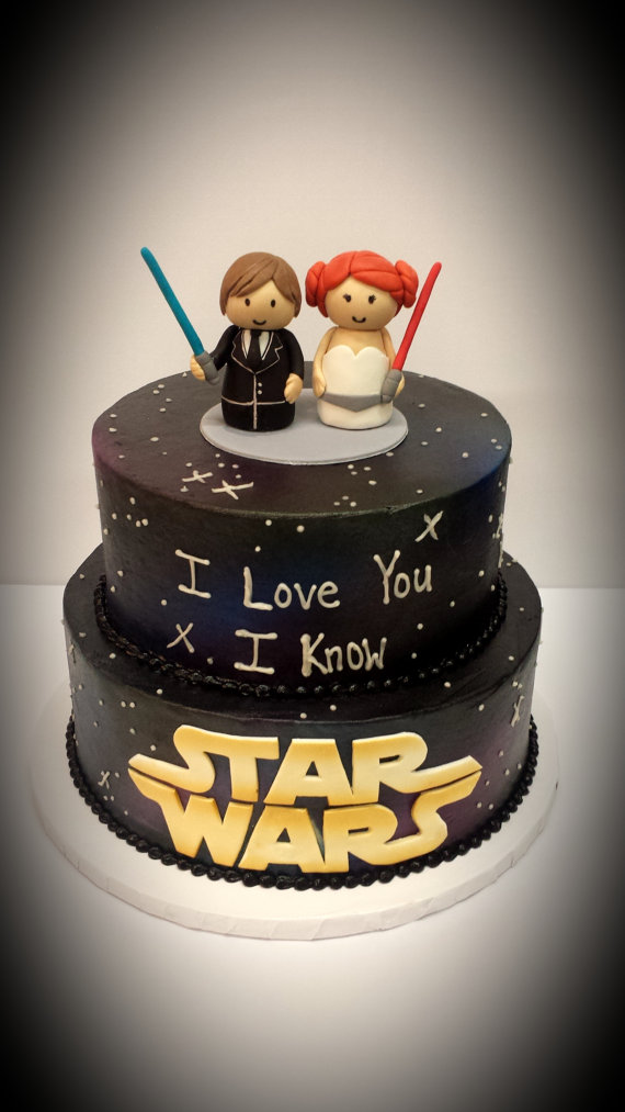 Best Star Wars Han Solo Princess Leia Cake Wedding Toppers