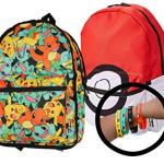 Pokemon Trainer 17 Large Backpack Bag Flip Pack with 4-Pack Toys Bracelets