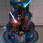 Blue Star Wars Tiered Cake with Glowing Lightsaber