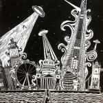 london ufo lino print