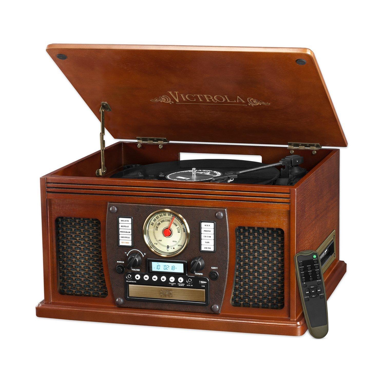Victrola Nostalgic Aviator Wood 8-in-1 Turntable