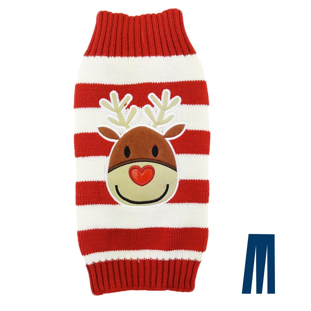 Reindeer Heart Nose Ugly Christmas Sweater for Dogs