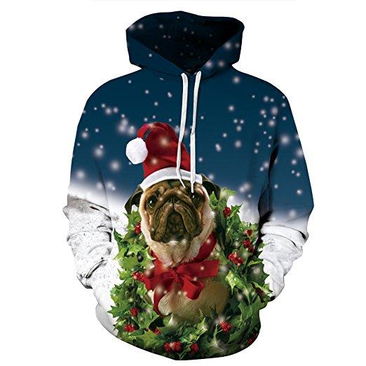 Santa Pug Christmas Hoodie