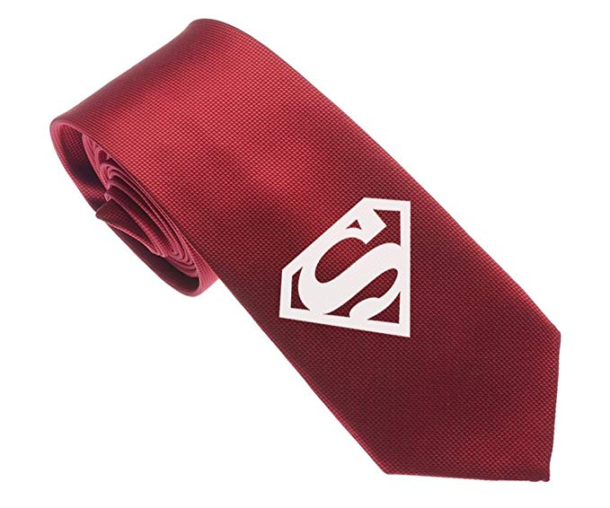"""Uyoung Superman Pattern Multi-colored Men's Woven 2.5"""" Skinny Tie"""