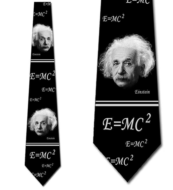 Albert Einstein Tie Scientist Necktie Black for Men by Three Rooker