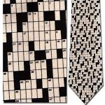 Mens 100% Silk Beige & Black Crossword Puzzle Necktie Tie Neckwear