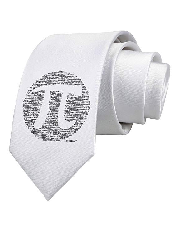 TooLoud Pi Day Design - Pi Circle Cutout Printed White Neck Tie