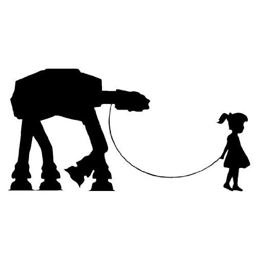 Girl Walking Robot AT-AT Star Wars WHITE Vinyl Car Laptop Window Wall Decal
