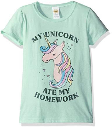 Lost Gods Girls' Unicorn Ate My Homework Graphic T-Shirt
