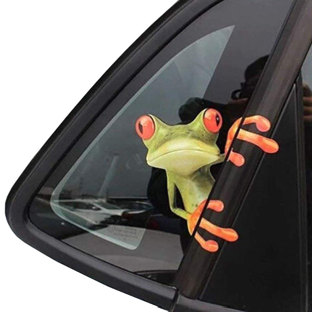 OKDEALS 3D Cute Peep frog funny car stickers Truck Window Vinyl Decal Graphics Auto 2pcs