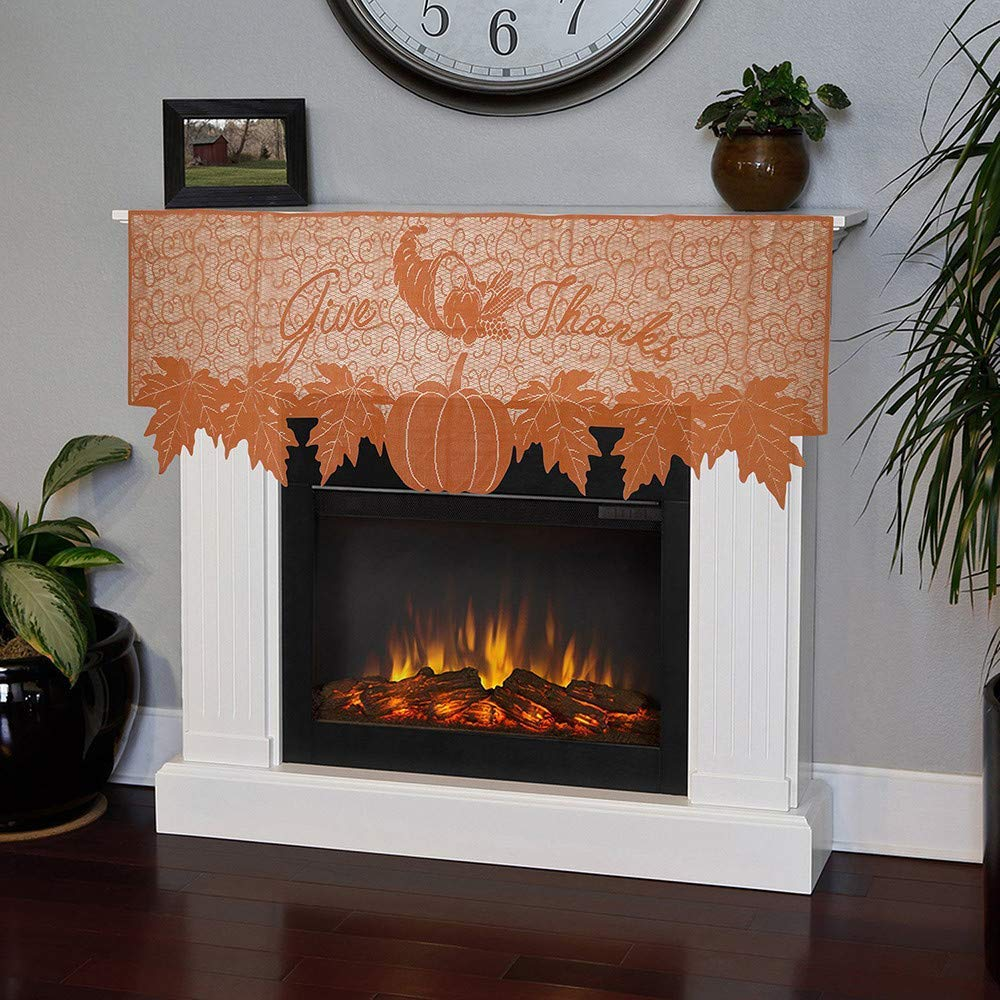 Thanksgiving Pumpkin Lace Fireplace Cloth