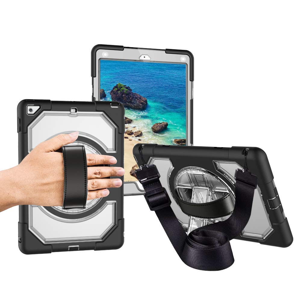 Miesherk Case iPad 2018/2017 with Hand Strap Neck Strap, Shockproof Drop Protection Cover with 360 Rotating Handle Built-in Stand iPad 9.7 inch 2018/2017 Transparent