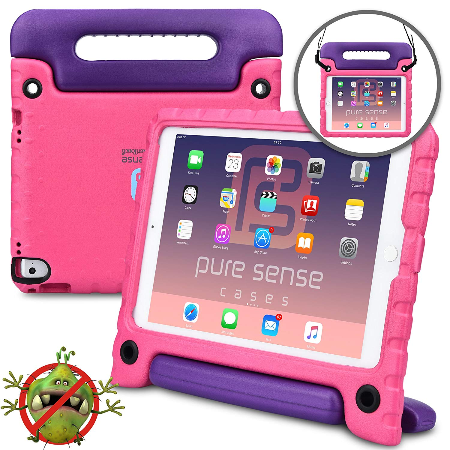 Pure Sense Buddy Kids Case Compatible with iPad Pro 9.7, iPad Air 2 | Anti Microbial Shock Proof Cover for Kids | Boys, Girls | Shoulder Strap, Handle & Stand | Apple A1673 A1674 A1566 A1567