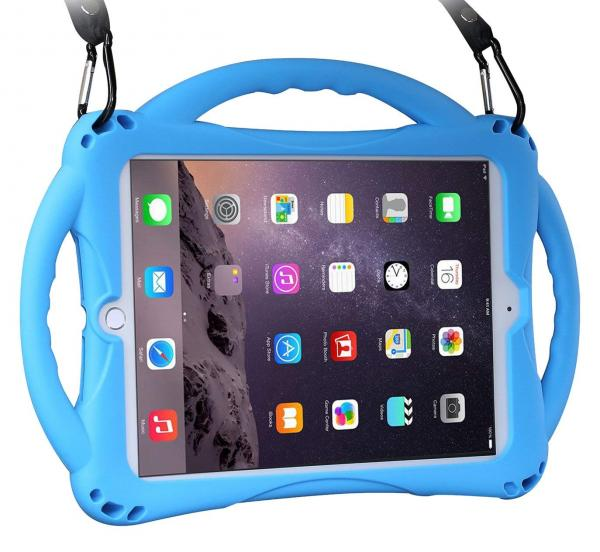 New iPad 2017/2018 9.7 inch Case/iPad Air Case, TopEsct Shockproof Silicone Handle Stand Case Cover & (Tempered Glass Screen Protector) For Apple New iPad 9.7inch(2017/2018 Version) and iPad Air(Blue)