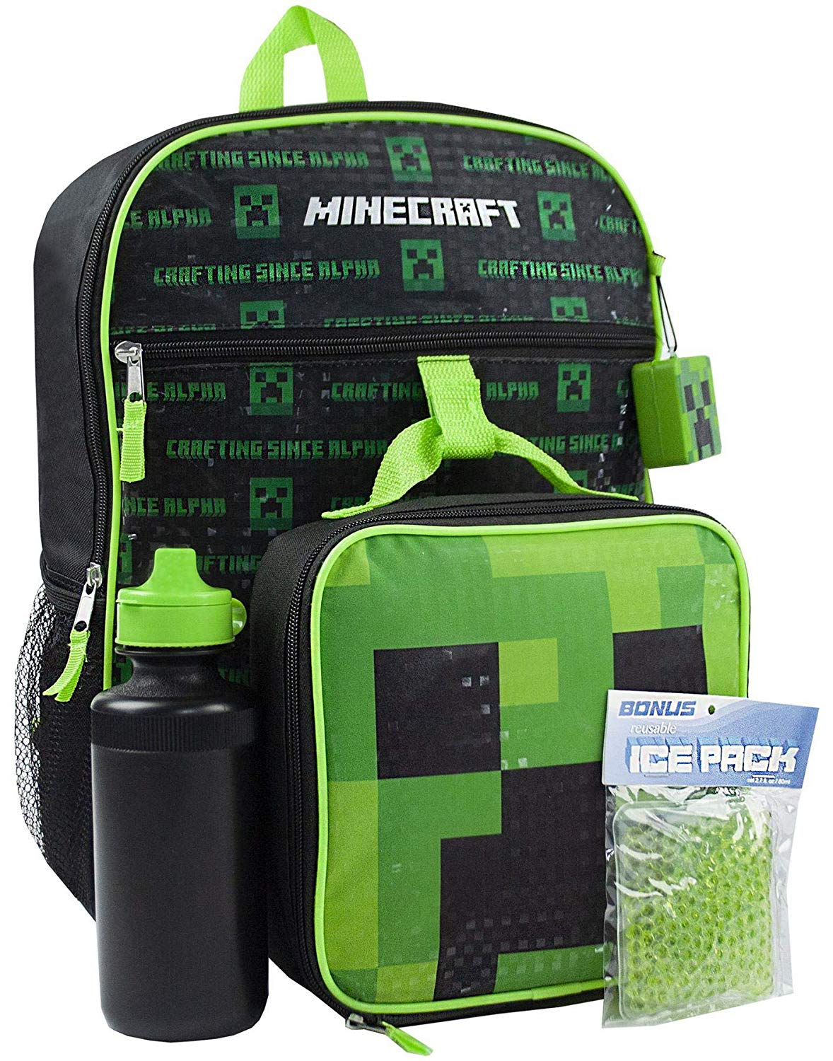 Minecraft Creeper 5 Piece Backpack Set