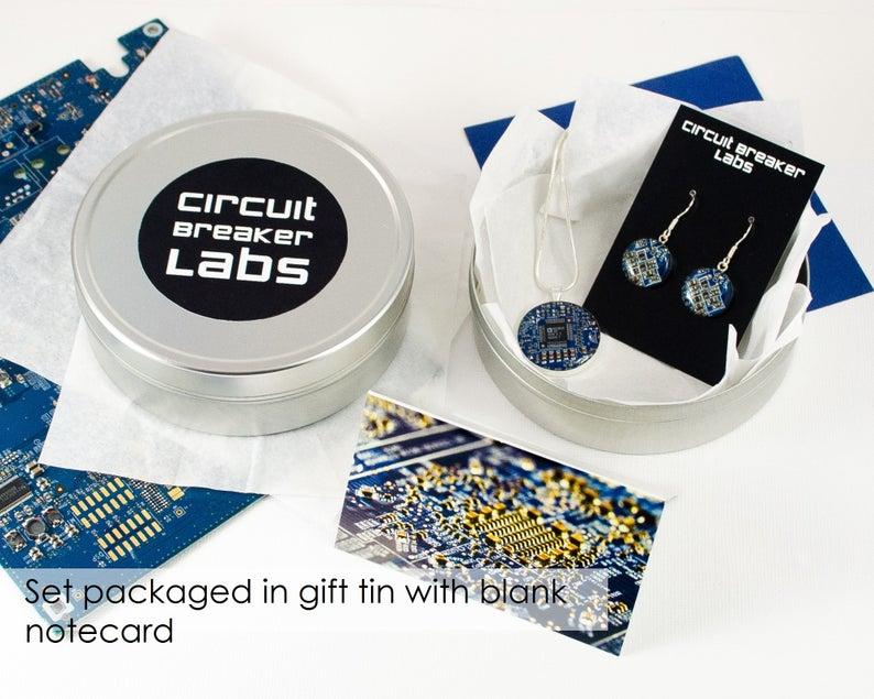 Circuit Board Gift Sterling Silver Earrings