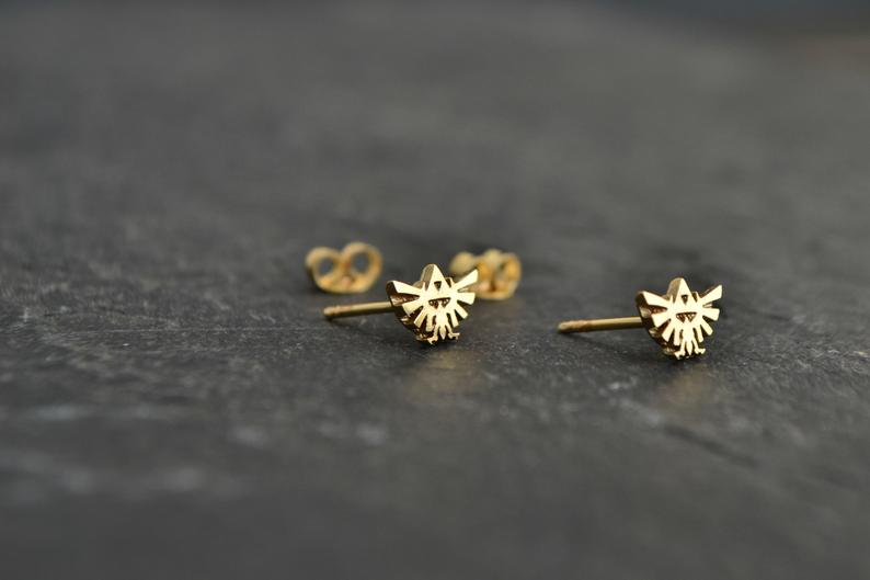 Geeky Legend of Zelda 14K Solid Gold Earrings