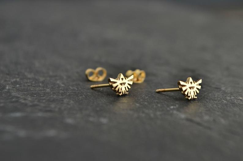Geeky Legend of Zelda 14K Solid Gold Earrings