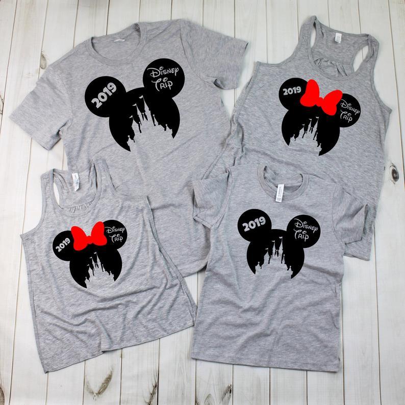 Mickey Head and Magic Kingdom Silhouette2019 Disney Family Shirts