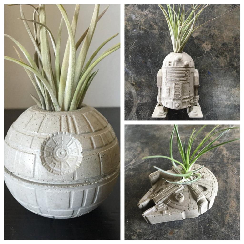 Cool star wars concrete planter