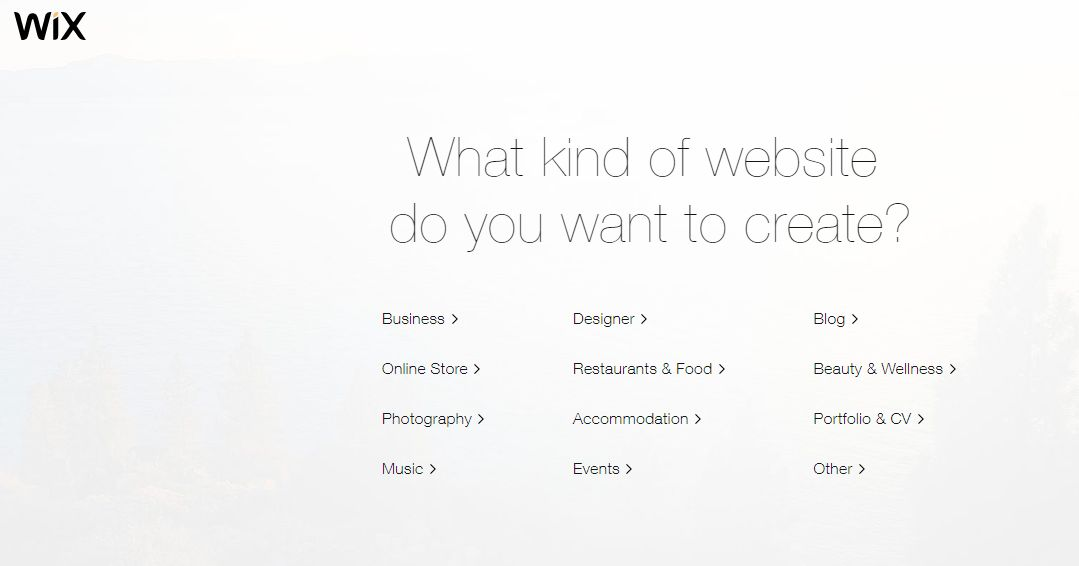 types of websites to create on wix