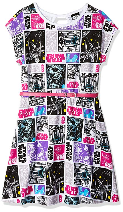 Colorful Star Wars dress with belt for kids