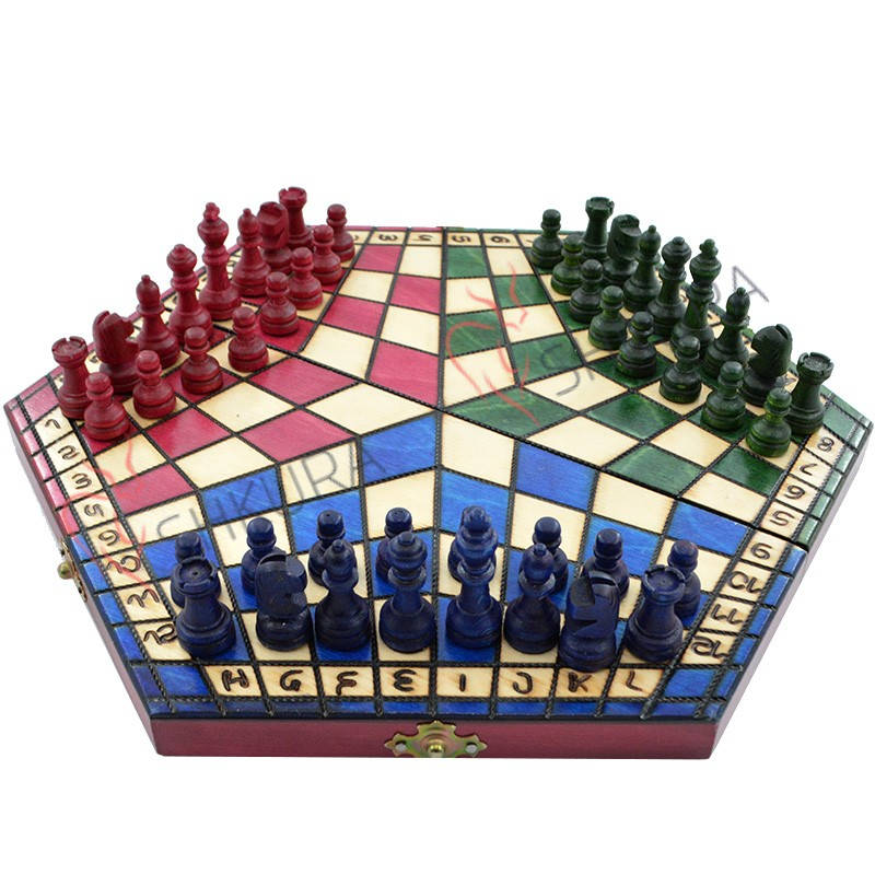 Handcrafted Three Man Chess Set
