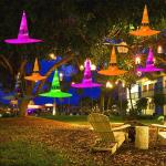 Hanging Lighted Glowing Witch Hat Halloween Decorations