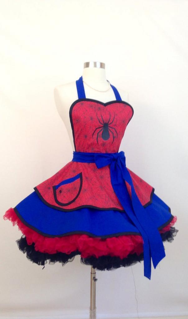 Miss Spiderman halloween costume apron