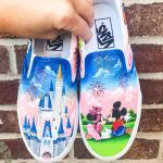 Minnie and Mickey Mouse, and Castle HandPainted Shoes