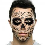 Sugar Black Skull Temporary Face Tattoo for Halloween