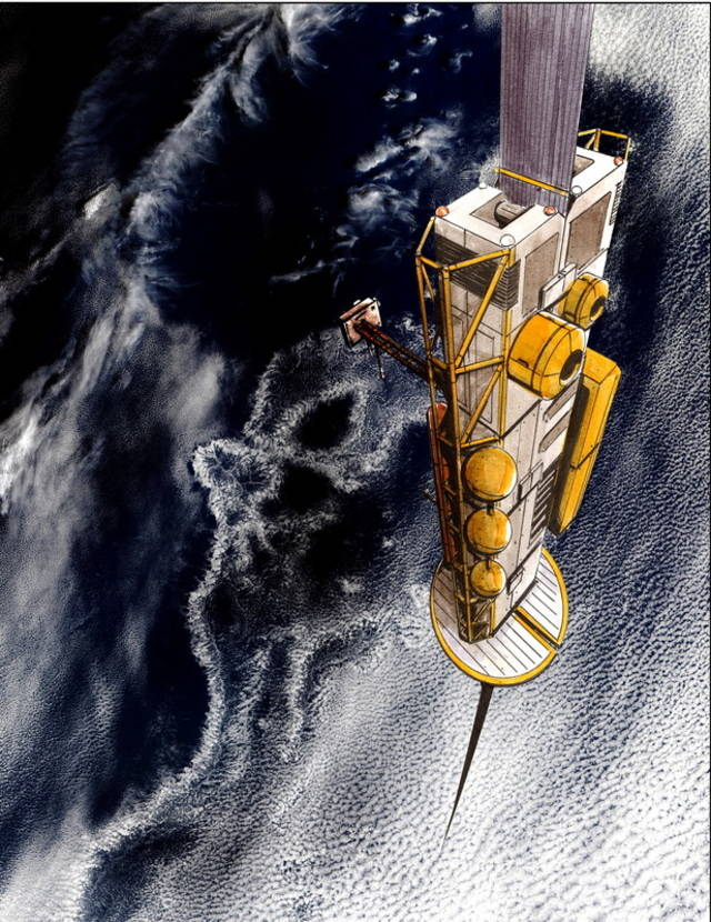 Space elevator at the orbit