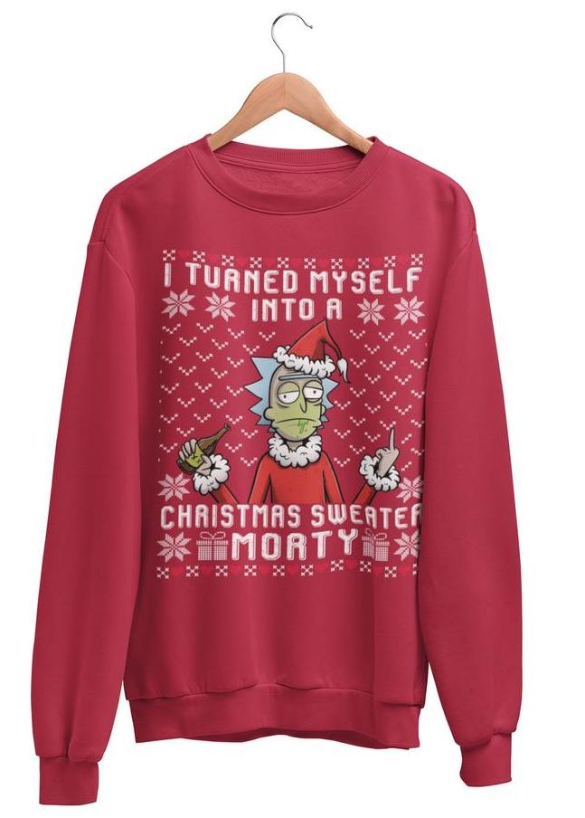 red rick and morty ugly christmas sweater