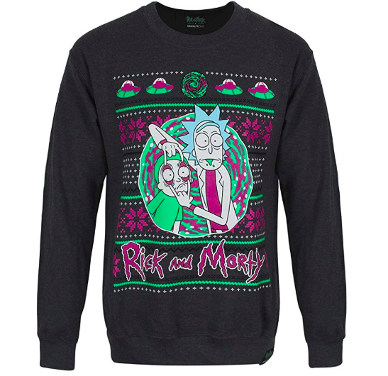 black rick and morty christmas sweater