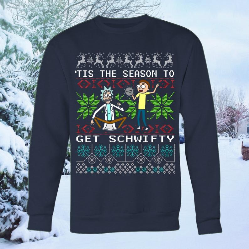 rick and morty blue christmas sweater