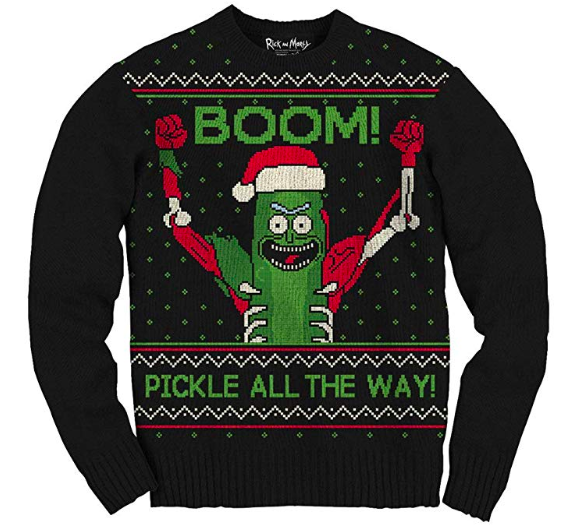 super cool pickle rick christmas sweater
