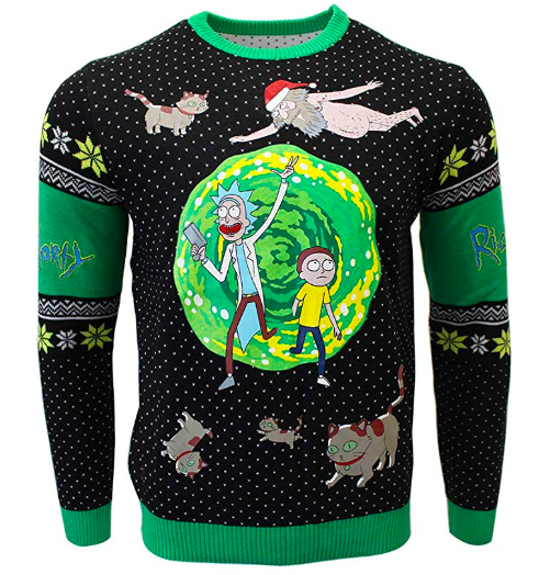 rick and morty green and black christmas sweater