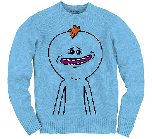 mister meeseeks ugly christmas sweater