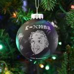 Albert Einstein E=Xmas Glass Christmas Ornament