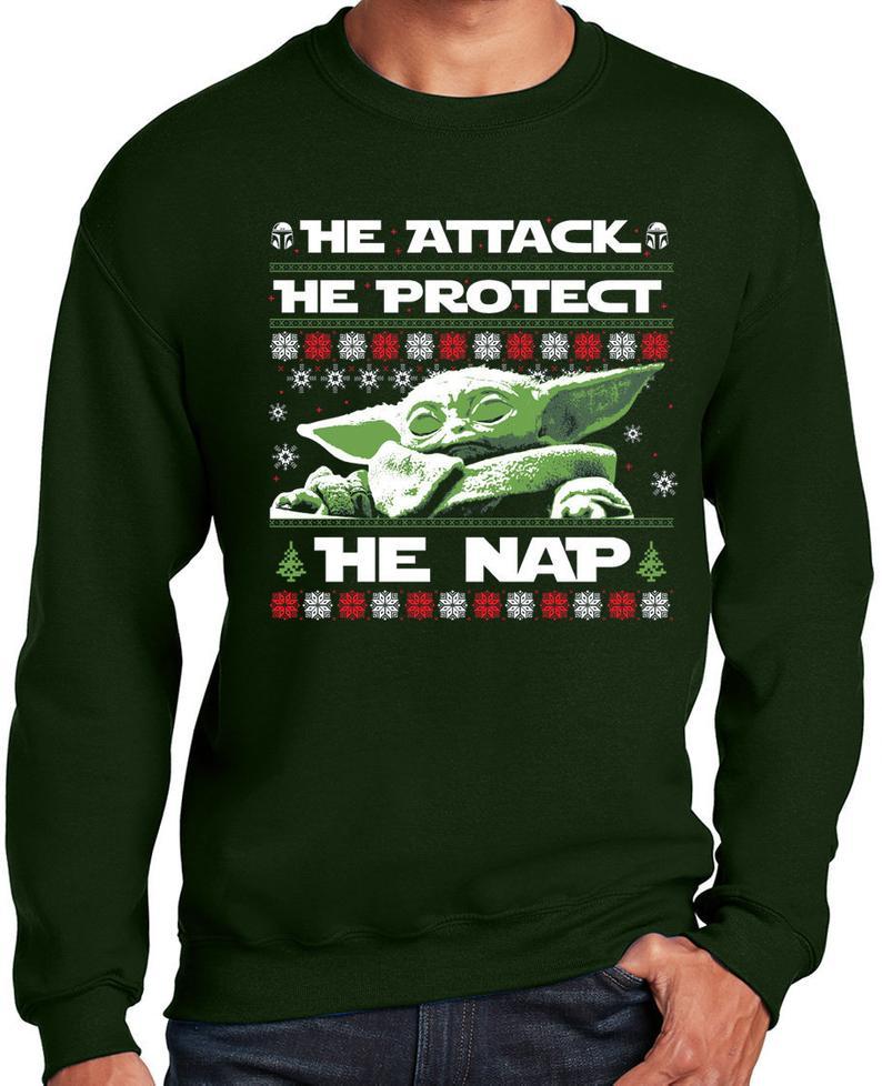 Green Baby Yoda Ugly Christmas  Sweater
