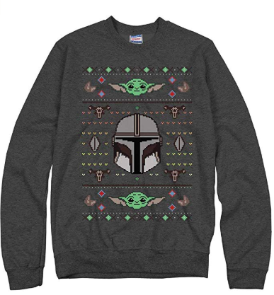 gray star wars baby yoda ugly Christmas sweater