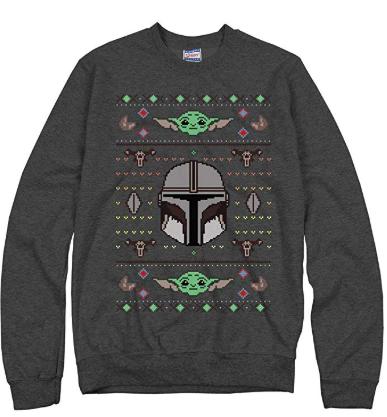 gray star wars baby yoda ugly Christmas sweater