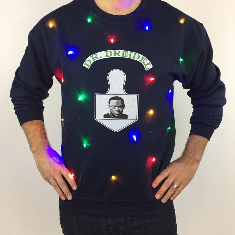 Dr. Dreidel Light Up Hanukkah Sweatshirt for Men