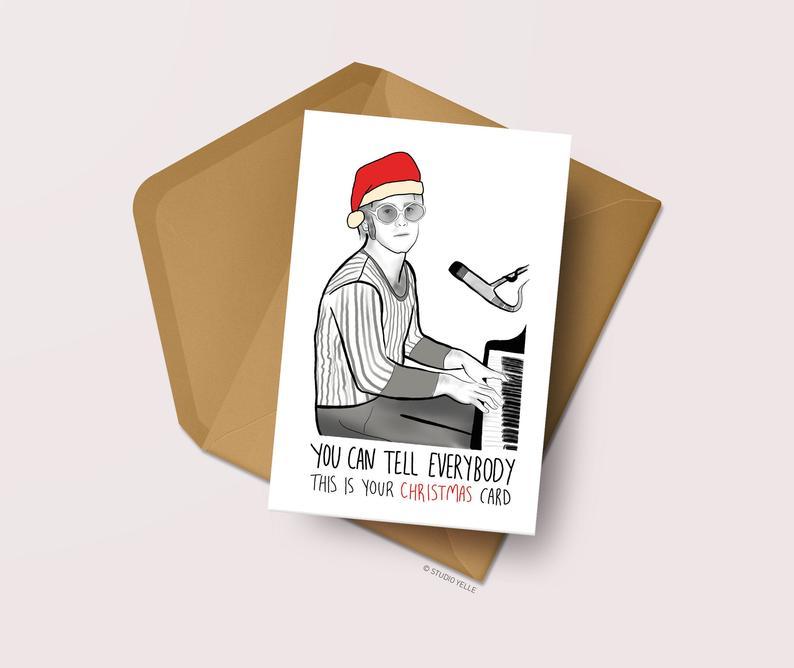 funny Elton John Christmas card