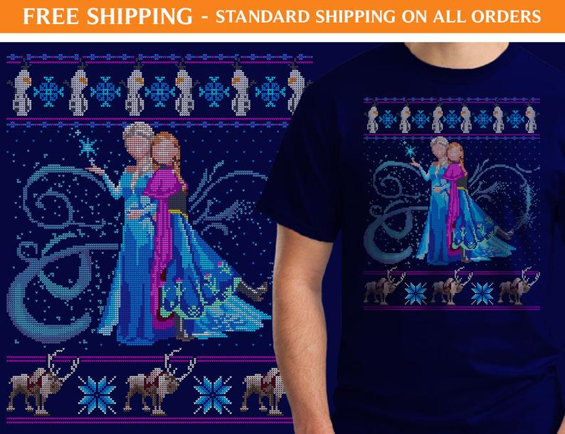 Frozen Elsa and Anna Ugly Sweater Shirt