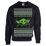 Green and White Baby Yoda Ugly Christmas Sweater